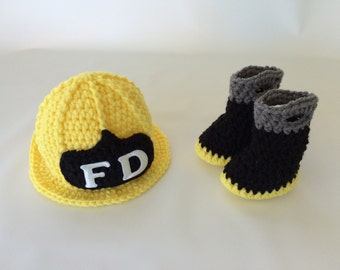 Baby Firefighter Hat & Boots Set - Newborn Firefighter - Photography Prop - Baby Shower Gift - Gender Reveal - Announcement