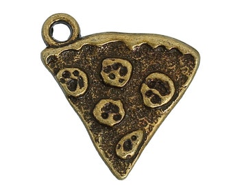 4pc Antique Bronze Pepperoni Pizza Pendants - 21x19mm - Charm, Jewelry Making Supplies, Jewelry Finding, Fast Food, Ships from the USA - O86