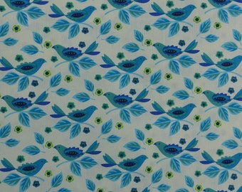 NEW Cotton Quilting Fabric Sewing Fabric Blue Bird Fabric Yardage Fabric by the Yard Teal and White - 1 1/4 Yard - CFL1529