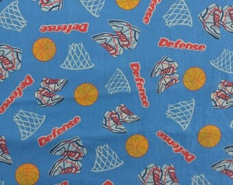 Basketball Fabric, Sports Fabric, Cotton Quilting Fabric, Sewing Fabric, Fabric Yardage, Fabric for Boys, Blue Fabric - 1 1/4 Yard - CFL1682