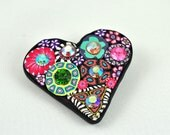 Sparkly Heart Brooch, Swarovski Crystals, Bright, Colorful Bling, Mille Fiori, OOAK,
