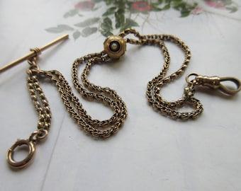 Victorian 14K Slide Watch Chain, Gold Watch Chains, Antique Chain, Men's antique Chain, Antique Pearl Jewelry, Fine Estate Jewelry, Bespoke