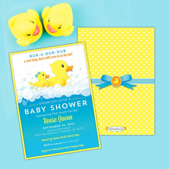 Rubber Ducky Baby Shower Invitations Printable Invitation with