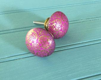Dresser Knobs - Drawer Pulls - Set of Two - Hardware for Cabinet or Dresser - Pink Gold - Whimsical Drawer Pulls