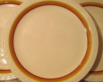"Lot of 4 Vintage Syracuse China Econo Rim Restaurant Ware Plates, 9 1/2"""