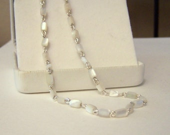 Genuine 1930s - 1940s Era Mother Of Pearl Artisan Restored Altered Wire Wrapped Sterling Silver 18 Inch Necklace