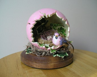 Spring Sale Handpainted Pink Carved Egg with Bird and Nest