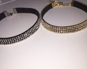 Mini Gold clear Crystal Choker & silver Black clear crystal choker,choker jewelry, crystal jewelry
