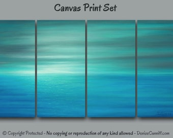 Teal abstract painting - Canvas art print set, Multi panel 4 piece wall art, Blue gray aqua turquoise, Coastal Beach decor, Seascape Sunset