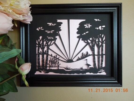 Heron in the Reeds at Sunrise Scherenschnitte Wall Art
