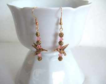 Gifts Under 20 Gold Hummingbird Pink Earrings Swarovski Earrings Gold Earrings Rose Flower Earrings Elegant Valentines Day Gifts for Her