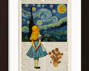 Alice meets Vincent Van Gogh's Starry Night  & Sunflowers on upcycled 1890's French Dictionary Page mixed media original digital print