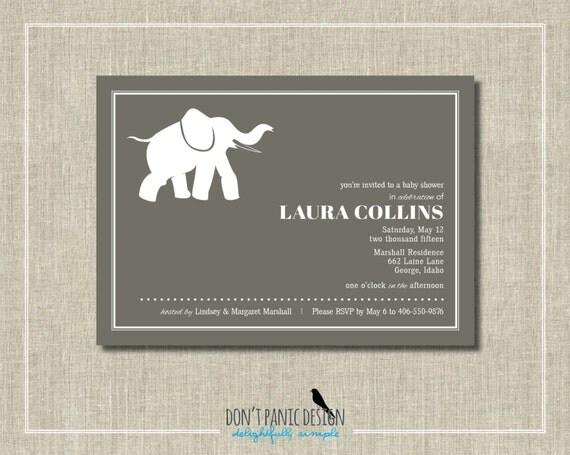 baby shower invitation simple baby elephant 5x7 invitation