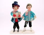 1960s Vintage Christmas Caroler Ice Skater Plastic and Felt Christmas Decorations