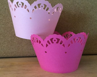 Cupcake wrappers, Scalloped cupcake wrappers, lace paper cupcake wrappers, 12 cupcake wrappers, cupcake holders