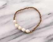 Bracelet perle cinq crème
