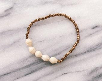Cream Five Bead Bracelet