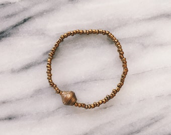 Gold Single Bead Bracelet