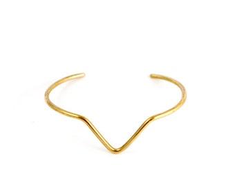 PEAK Brass Cuff - Large | Stacked Cuff | Gold Cuff Bracelet | Triangle | Geometric Jewelry | Minimal Metalwork | Stacking Arm Band | Armlet