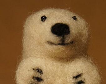 Hand Felted Polar Bear Cub