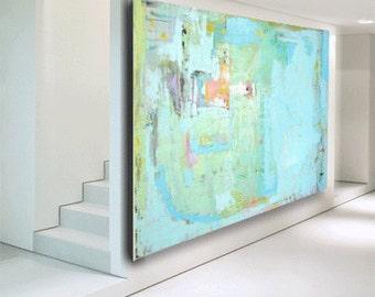 "abstract painting blue painting blue abstract art original painting ""custom painting"" fine art painting 60 x 40 huge art by Cheryl Wasilow"