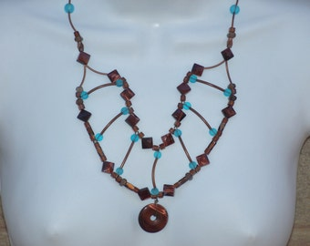 Bib Necklace Copper Brown Aqua Blue Glass Beads Statement Jewelry Earth Tones Desert Colors Southwestern Style Unique