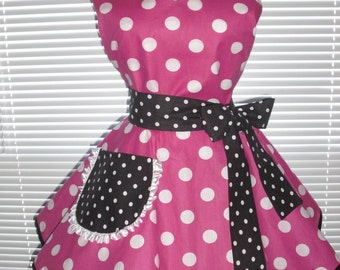 Retro Apron Fuchsia with White Polka Dots Accented with Black and White Polka Dots Circular Skirt