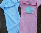 Boys or Girls Layette Gown With Monogrammed Applique & Monogrammed Hat - Perfect Baby Gift!