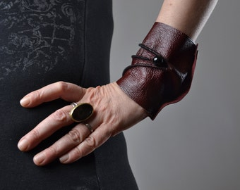 Burgundy Leather Cuff Bracelet - Leather Cuff Bracelet - Leather Cuff - Summer Accessories - Handmade Leather Cuff