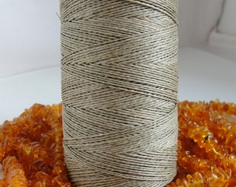 16,5 yards   NATURAL  WAXED   linen  thread  2-Ply /  0,8 mm in diameter
