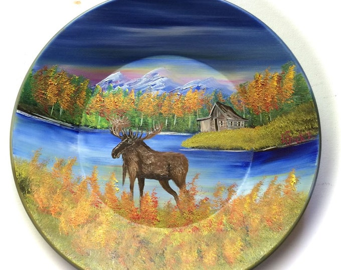 Hand Painted 11 Inch Gold Pans Mountain Fall Cabin and Moose