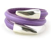 Purple Leather Spiral Bracelet, Edge Stitched Leather Bracelet, Violet Orchid Spiral Memory Wire Cuff Bracelet