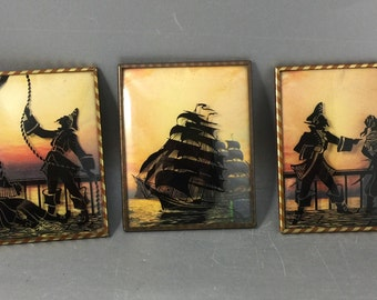 3 Pirate Themed Celluloid Silouettes