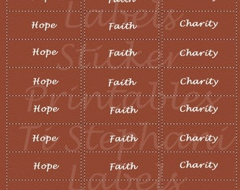 Hope Faith Charity, 30 Labels, Stickers in Muted Orange, Encouragement Notes, Positive Reminders, Day Planner, Scrapbooking and Crafts