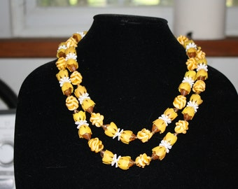 Unusual Double Strand West German Necklace, Amber and Honey Floral
