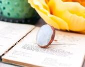 Moonstone Copper Ring Electroformed Gemstone Ring Cocktail Ring