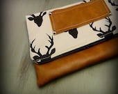 Fold Over Clutch, Vegan Leather Clutch Purse, Leather Clutch Purse, Deer Head Zipper Clutch, Ipad Case, Kindle Case, Holiday Gift, Stag Bag