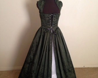 Forest Green Damask Christmas Renaissance Over Gown Dress Made to Fit you!!! Limited RUN!