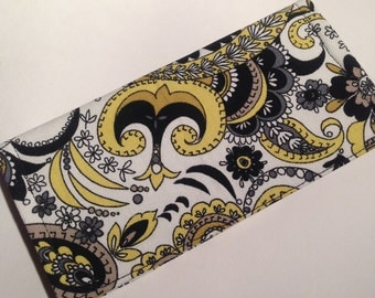 Fabric Checkbook Cover-Black, Yellow, and White Paisley Print with Black Interior
