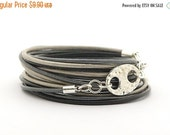 CiJ ON SALE Black Gray Silver Men's Leather Bracelet, Men's Metallic Gray Silver Black Wrap Boho Hippie Bracelet,  Minimalist Bracelet, gift