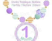 ON SALE Monthly Stickers Baby Girl Monthly Milestone Stickers Mint Lavender Stickers Monthly Growth Stickers Girly Necklace Stickers Photo P