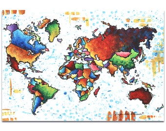 Rainbow Map 'A World of Diversity' by Megan Duncanson - Modern Map Art Colorful Artwork on Metal or Acrylic