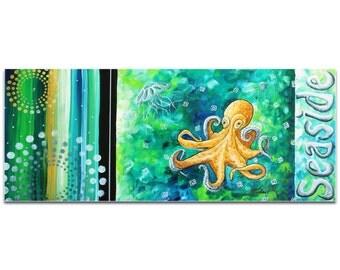 Contemporary Beach Decor 'Seaside' by Megan Duncanson - Coastal Bathroom Art Octopus Painting on Metal or Acrylic