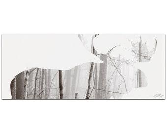 Moose Landscape   Contemporary Metal Animal Silhouette Art, Wildlife Artwork on Metal, Minimalist Moose Landscape, Modern Lodge Decor