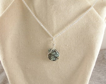 Natural Nevada Variscite Pendant and and Sterling Silver Chain