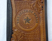 IN STOCK  Leather Portfolio, Hand Tooled Western Floral Pattern surrounding the State of Texas Seal