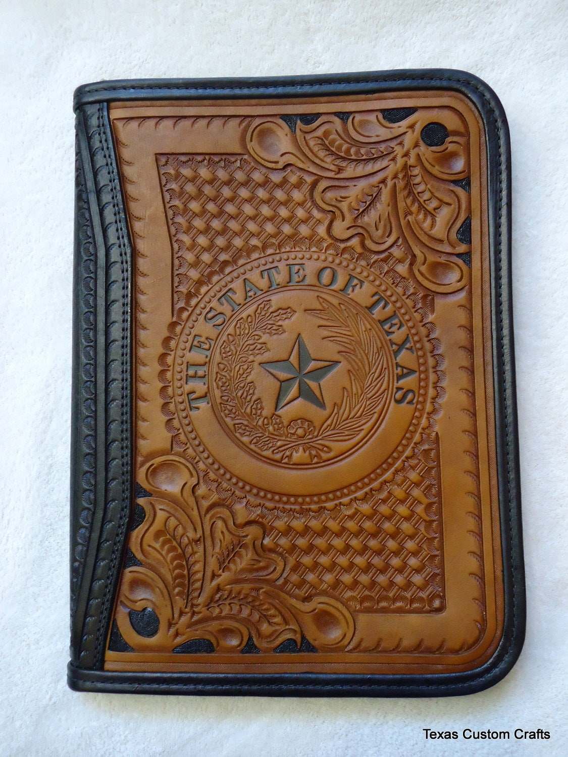 in stock leather portfolio hand tooled western floral