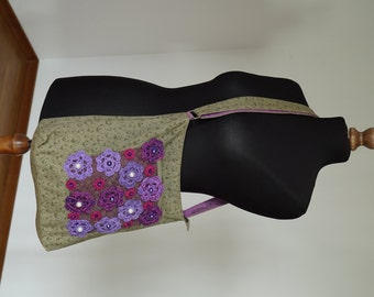 Unique Bags, Cotton,Boho,Flowers, Upcycled, Aplique, Beads, Green, Violet, Pink