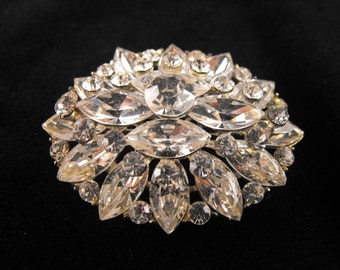 Clear Rhinestone Brooch Multi Tiered Floret Pin or Pendant Convertible Brooch Pot Metal Mount