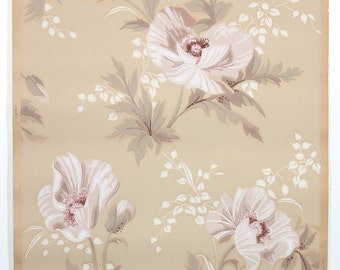 REMNANT of Vintage Wallpaper, Single 48 Inch Piece - Segmant of Floral Wallpaper with Large Pink Flowers on Tan